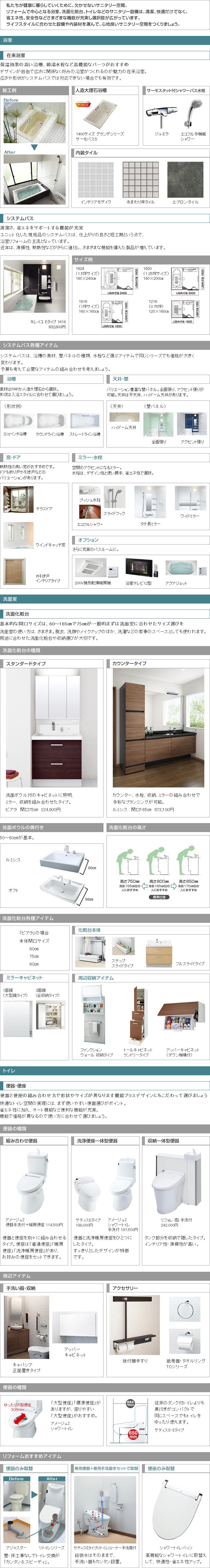 浴室・洗面室・トイレリフォーム